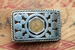 Vintage Stainless Steel Hand Made Indian Chief Penny Belt Buckle