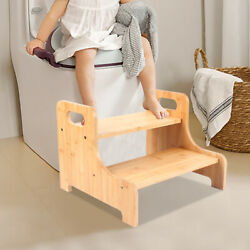 Wood 2 Steps Stool Kitchen Kids Bed Stepping Chair Bamboo Step Vintage Furniture
