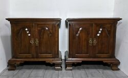 Vintage Pair Of Pennsylvania House Cherry Wood Nightstands Tables Drawer And Doors