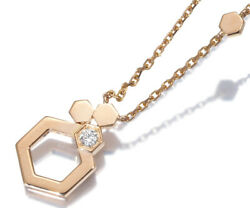 Auth Chaumet Diamond Necklace Bee My Love Honeycomb 18k 750 Rose Gold