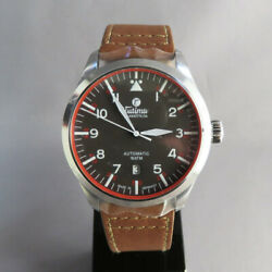 Tutima Wristwatches Grand Flieger Automatic Menand039s Watch Black Dial Brown Belt