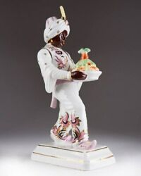 Antique 1920-1938 Germany Porcelain Figurine Page Ebeling And Reuss Marked 28 Cm
