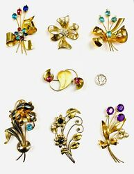 Vintage Estate Collection Lot 7 Sterling Silver Gold Rhinestone Brooches Pins
