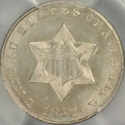 1852 Three Cent Silver Pcgs Ms66+ Cac