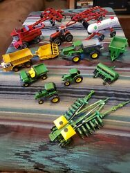 John Deere And Case Huge Toy Tractor Lot, W/ Implements, Heads, Bins 14x Set Rare