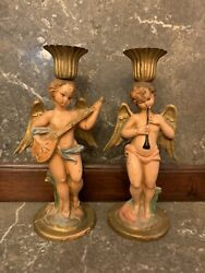 🔥gorgeous Italy Fontanini Style Cherub Angel Candle Holders 1940andrsquos🔥