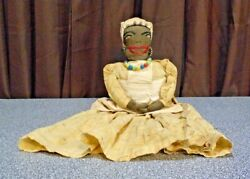 Vintage Doll Kitchen Toaster Cover Doll African American Folk Art W/cotton Dress