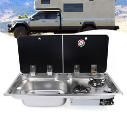 2 Burner Lpg Gas Stove Boat Rv Hob Sink Combo With Glass Lid Folding Faucet Us