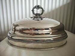 Rare Large Antique Silver Plate Meat Dome / Cloche Downton Abbey Style