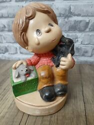 Vintage Chalkware Figurine Boy Selling Puppies Dogs Home Decor Chalk Ware 7