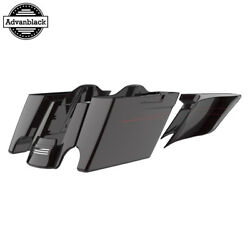 Blackened Cayenne Extended Stretch Saddlebags With Pinstripes Fits 2014+ Harley