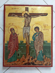 The Crucifixion Greek Byzantine Icon Hand Painted Very Large Icon