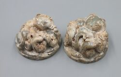 Han Dy. Chinese Old White Jade Carved Pair Dragon Beast Figure Statue Zhen