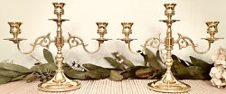 Pair Vintage Baldwin Solid Brass Three Branch Candelabras Taper Candle Holders