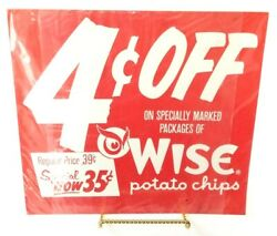 Wise Potato Chips Vintage Cardboard Advertising Sign - 35 Cent Special 12.5 X 14