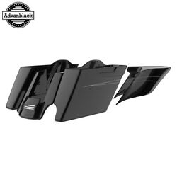 2 Into 1 Vivid Black Extended Extend Saddlebags Pinstripes Fits 2014+ Harley