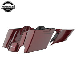 2 Into 1 Mysterious Red Sunglo Extended Saddlebag Pinstripes Fits 14+ Harley