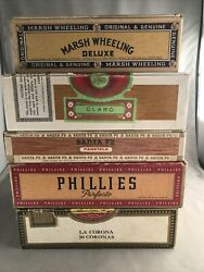 Lot 5 Assorted Vintage Empty Cigar Boxes Various Manufacturers