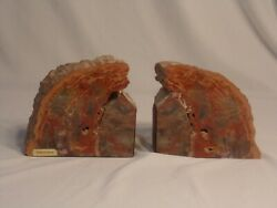 Large Exquisite Polished Arizona Petrified Wood Book Ends 11lb. 12oz. Great Cond