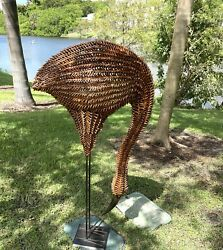 Remarkable Hollywood Regency Life Size Bamboo And Metal Emu Sculpture