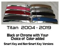 Black Or Chrome Door Handle Covers For 2004-2019 Nissan Titan You Pick Color