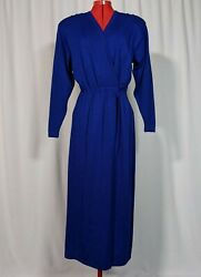 St John Evening for Saks Fifth Ave NYC Vintage 80s Blue Knit Dress Runway USA 6 $359.99