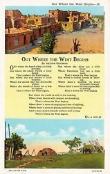 C7004 Out Where The West Begins Chapman Poem And 2 Views Vintage Pc Teich 121602
