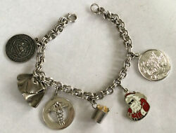 Beautiful Sterling Silver 925 7 Charm Bracelet Nursing And Christmas Charms Bb36