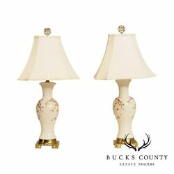 Vintage Asian Porcelain Brass Base Butterfly Painted Table Lamps
