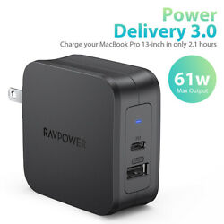 Ravpower Power Delivery 3.0 Usb Charger, Pd Pioneer 61w Usb-c Fast Wall Charger