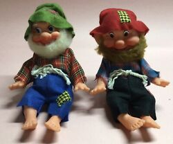 Green And Red Gnome Pixie Elf 1950's Christmas Elves Vintage Made In Japan