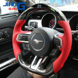 Real Led Carbon Fiber Performance Steering Wheel For 2015-2017 Ford-mustang