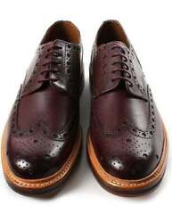 Mens Handmade Shoes Brown Leather Oxford Brogue Wingtip Derby Formal Dress Boots