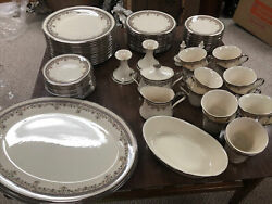 Lenox Lace Point China Set Service For 12, Serving Trays, Sugar Creamer Dish,