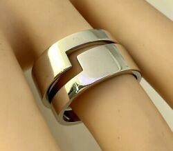 Authentic Double Band Ring In 18k Solid White Gold Sz 8