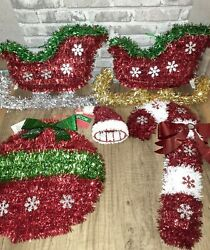 Lot Of 5 Christmas Tinsel Hangings-sleighs, Candy Cane, Ornament, Santa Hat New
