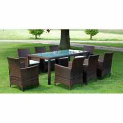 Poly Rattan Garden Furniture Dining Table With 8 Seaters Outdoor Patio 17 Pieces