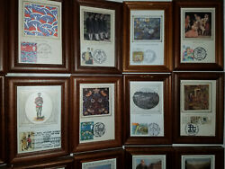 Stamps. Collectible Art 28 Historical In Glass Wood Framed. British Postage.