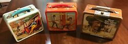 3 Vintage Lunch Boxes Metal With Thermos Bionic Woman, Emergency, West Was Won