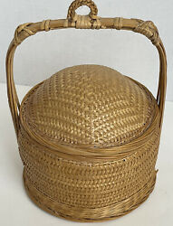 Antique Chinese Sewing Basket With Handle And Lid Bamboo Hand Made 10andrdquo Tall