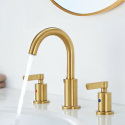 8 Widespread Bathroom Basin Faucet Brushed Gold Sink Mixer Tap And Pop Up Drain