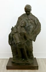 Mid Century Modern Father With Son Holding The Torah Bronze Sculpture