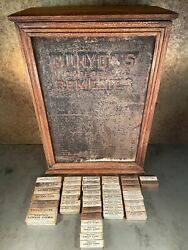 Munyon's Cure Bottle Remedies Oak Display Medicine Cabinet With 44 Boxes