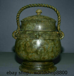 12.8 Antique China Bronze Ware Dynasty Place Portable Beast Ear Drinking Vessel
