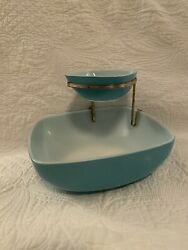 Vintage Pyrex Turquoise Chip And Dip Hostess Square Bowl Set 025 And 410