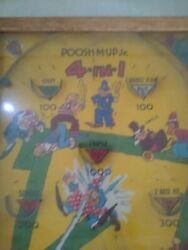 1930s Vintage Poosh-m-up. Jr. 4-in-1 Baseball Pinball Tabletop Game Collectable