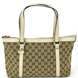 Bag Gg Canvas Tote 141470 Leather Beige Ivory Act One