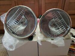 1928 1929 Ford Model A Stainless Headlights Head Lamps 12 Volt Hot Rod Rat Rod