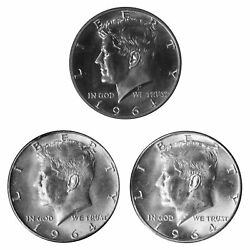 1964 P P D Kennedy Half Dollar 50c Year Set Proof And Bu Us 3 Coin Lot