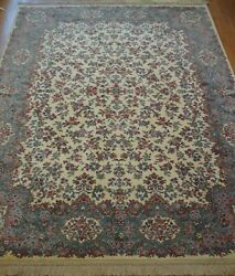Excellent Karastan 788 Ivory Kirman Wool American Area Rug Cleaned 8and0398 X 12and039